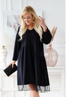 Czarna sukienka z tiulem u dołu