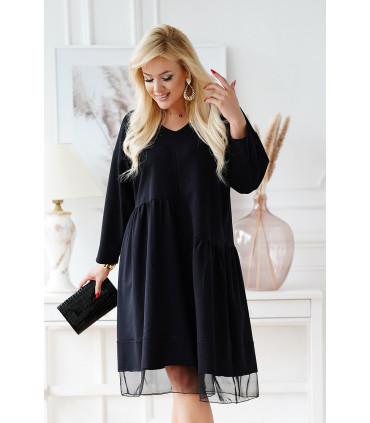 Czarna sukienka z tiulem u dołu i ozdobną falbanką - Sammy