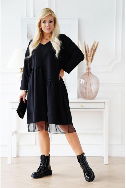 czarna oversizowa sukienka XXL