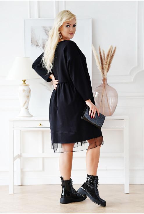 czarna luźna sukienka duże rozmiary