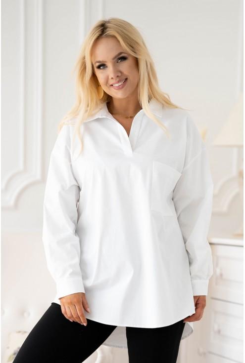 Biała koszula z podwijanym rękawem