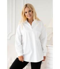 Biała koszula z podwijanym rękawem i kieszonką - Caurina