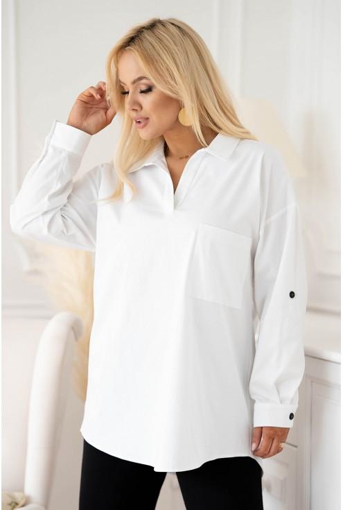 biała elegancka koszula z guziczkami