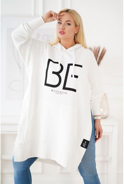 Długa biała bluza plus size