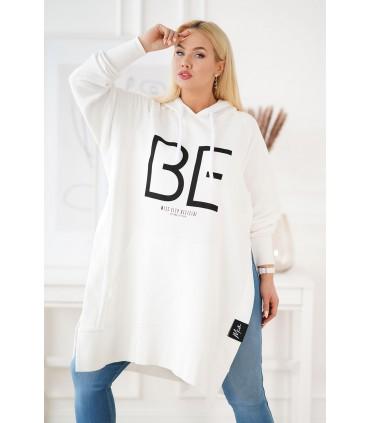 Długa biała bluza z rozcięciem po bokach - ALONA