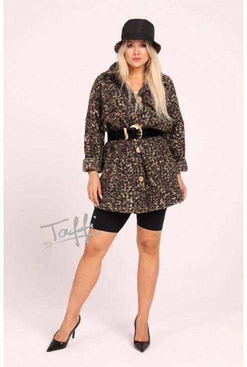 Krótki płaszcz oversize z wzorem w panterkę