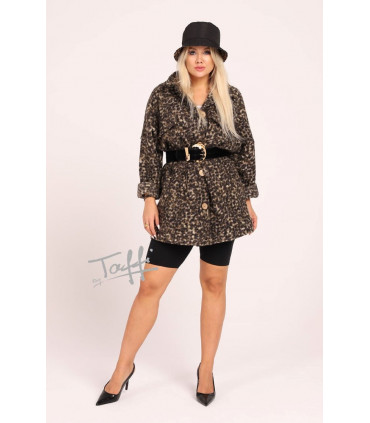 Krótki płaszcz oversize z wzorem w panterkę - Rasel