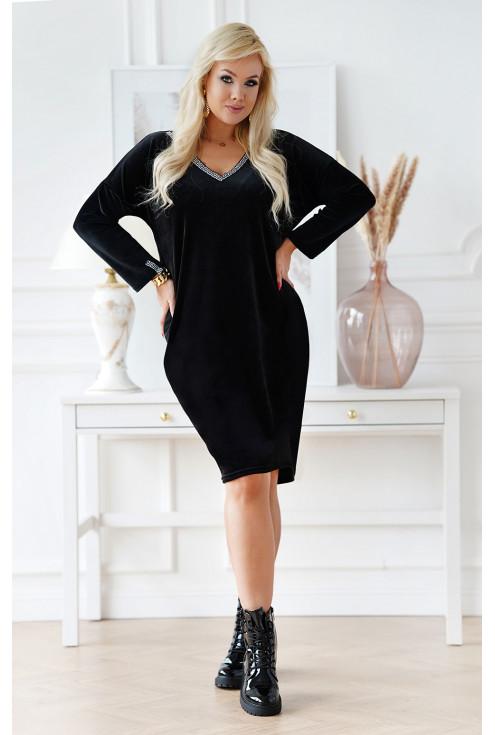 welurowa sukienka plus size z dekoltem V - duże rozmiary