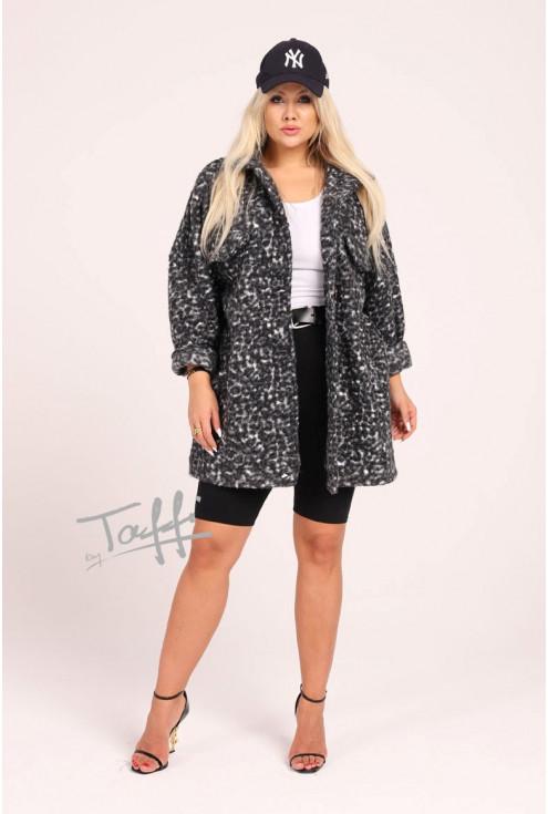 Krótki płaszcz oversize z wzorem w biało-czarną panterkę
