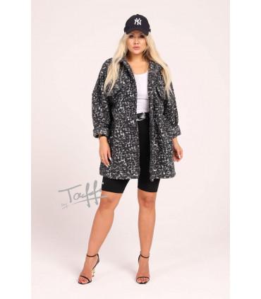 Krótki płaszcz oversize z wzorem w biało-czarną panterkę - Rasel