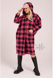 Płaszcz oversize w różowo-czarną kratkę