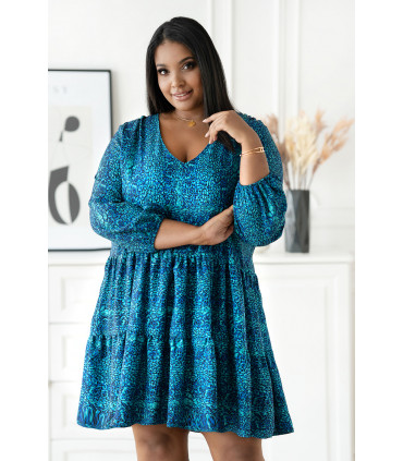 Turkusowa rozkloszowana sukienka w drobny wzór - Ritta
