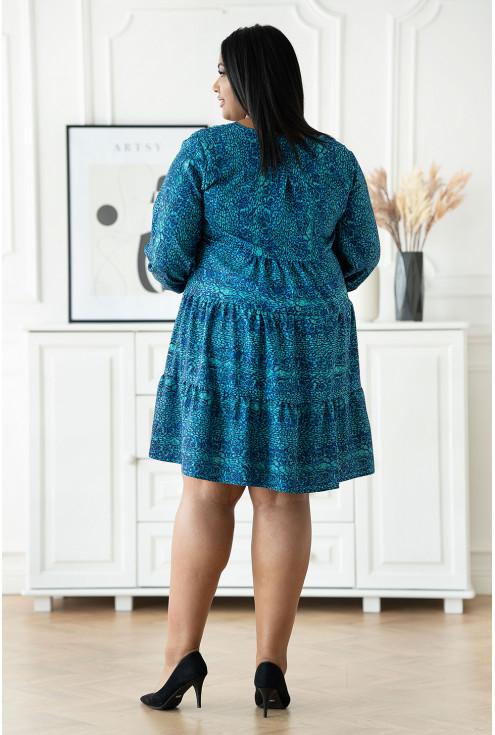 oversizowa sukienka plus size turkusowa
