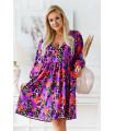 Kolorowa rozkloszowana sukienka plus size w zwierzęcy wzór - Saline