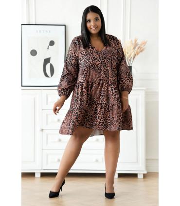 Czarna rozkloszowana sukienka w karmelowe cętki - Ritta