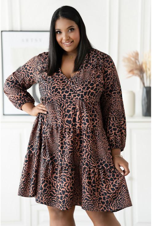 Czarna sukienka w karmelowe cętki