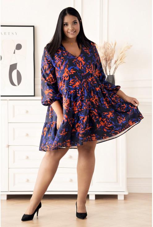 sukienka w niebiesko-pomarańczowy wzór