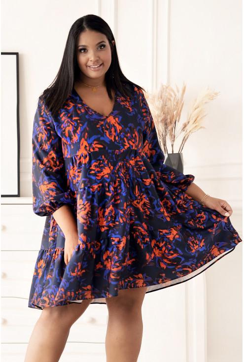 Granatowa rozkloszowana sukienka z wzorem