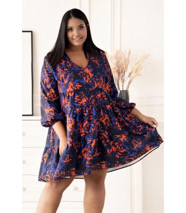 Granatowa rozkloszowana sukienka w niebiesko-pomarańczowy wzór - Ritta