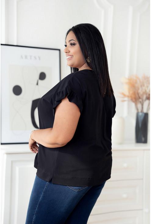 Czarna bluzka z dekoltem V z falbaną na rękawach - Arceli