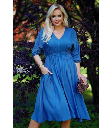 Sukienka z dekoltem V i rękawem 3/4 w kolorze jeansowym- Marise