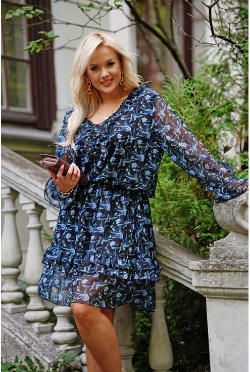 sukienka w niebieskie drobne kwiaty