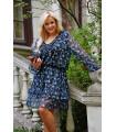 Czarna sukienka w niebieskie drobne kwiaty - Terina