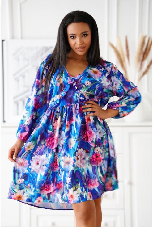 sukienka w kolorowe kwiaty z falbankami