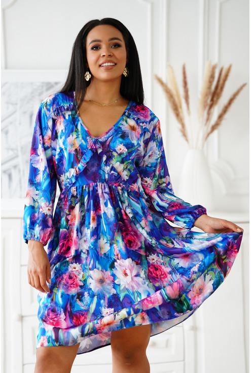 Chabrowa sukienka w kolorowe kwiaty