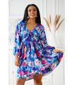 Chabrowa sukienka w kolorowe kwiaty z falbankami - Renes