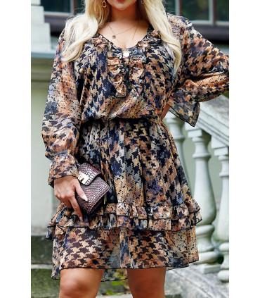 Czarna sukienka w brązowo-szary wzór - Terina