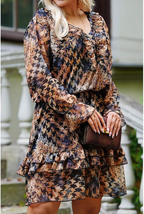 jesienna sukienka z długim rękawem