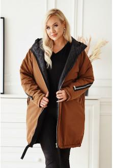 Brązowa długa kurtka jesienna - zimowa