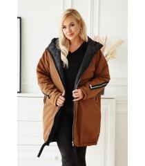 Brązowa długa kurtka jesienna - zimowa z ozdobnym suwakiem na plecach - STACY