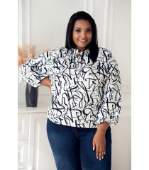 Biała wizytowa bluzka plus size z czarnym wzorem z wiązaniem przy dekolcie - Marvi