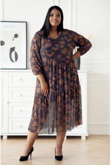 Karmelowa sukienka z siateczki XXL