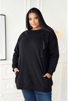 Czarna długa bluza oversize duże rozmiary