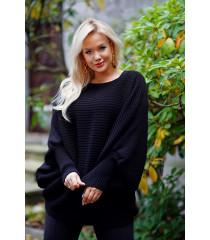 Czarny sweter z poziomym splotem - PEYTON
