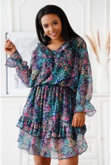 sukienka z falbanami w różowe kwiaty xxl