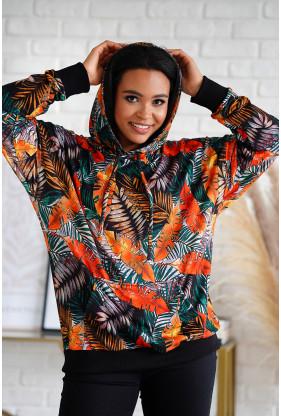 bluza w pomarańczowe listki xxl