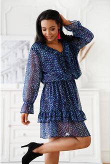 Granatowa sukienka z falbanami XXL