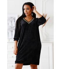 Czarna welurowa sukienka z ozdobnym lampasem - Costa