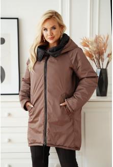 Jasnobrązowa długa kurtka jesienna - zimowa