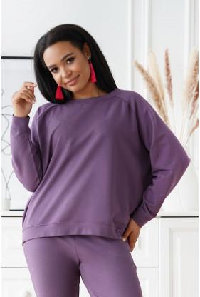Liliowa oversizowa bluza plus size - Michaela