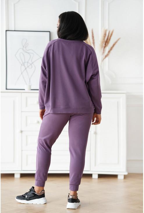 liliowe spodnie plus size