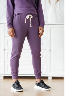 Liliowe spodnie dresowe plus size - MICHAELA