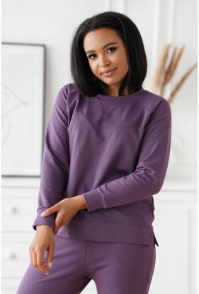 Liliowa bluza oversize z rozcięciem po bokach - Dena