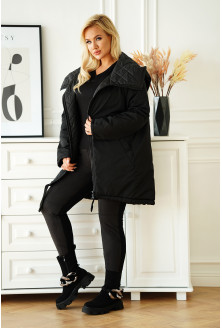 czarna długa kurtka plus size
