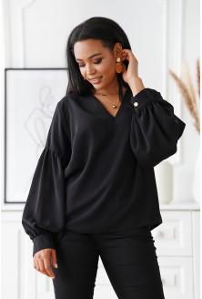 Czarna wizytowa bluzka z bufiastymi rękawami - Francine
