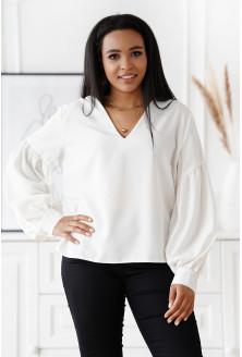 Biała wizytowa bluzka z bufiastymi rękawami - Francine